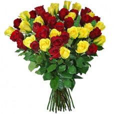 Букет из 39 красных и желтых роз