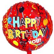 Happy Birthday  красная фольгированная круглая 45 см