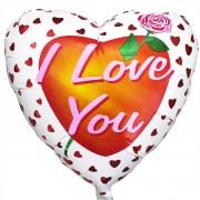 """Сердце """"I love you"""" белое фольгированное 45 см"""