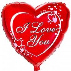 """Сердце """"I love you"""" фольгированное 45 см"""