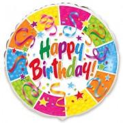 Happy Birthday  фольгированная круглая 45 см
