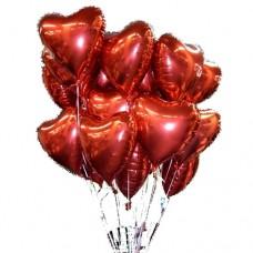 Сердца фольгированные красные 45 см